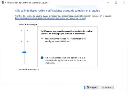 cuentas de usuario - Desactivar el Control de cuentas de usuario.