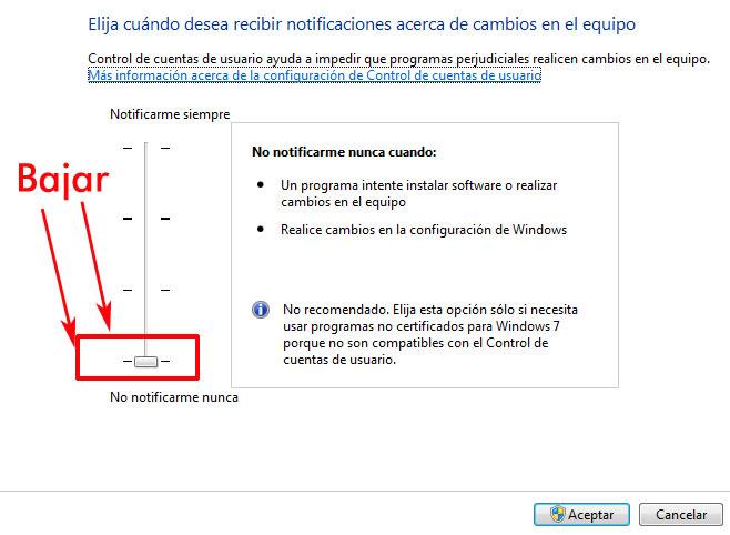windowsUAC 1 - Desactivar el Control de cuentas de usuario.