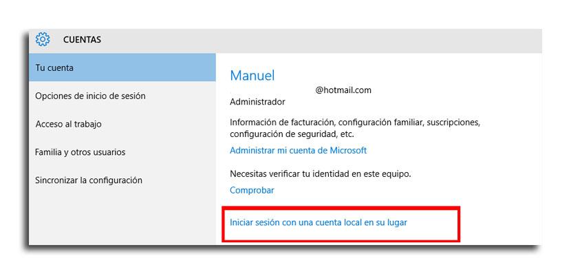 cambio a cuenta local1 - Cómo cambiar a una cuenta Microsoft a cuenta local en Windows 10