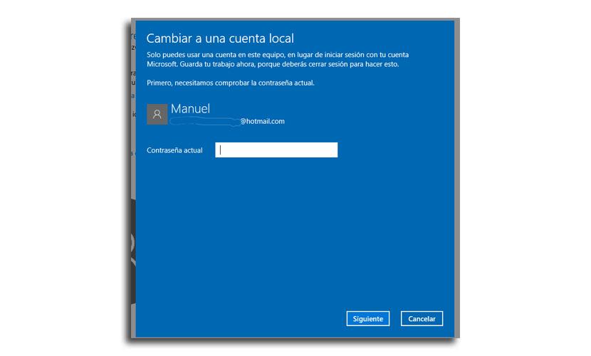 cambio a cuenta local2 - Cómo cambiar a una cuenta Microsoft a cuenta local en Windows 10