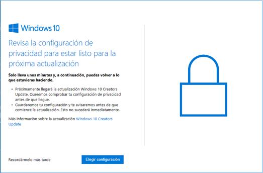 Elegir la configuración de privacidad para Windows 10 Creators Update